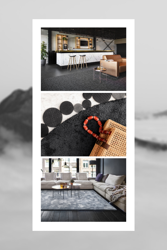 Trend Black and Whites collage Floor Jewels by Roelfien Vos